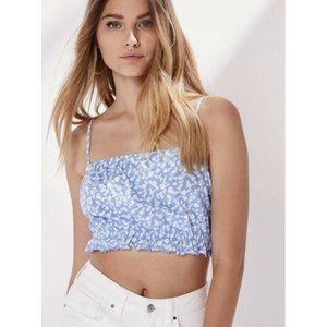 Pacsun Blue Floral Crop Top, Small - New